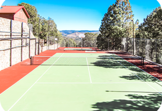 Two lighted tennis courts